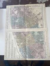 c1889 Liverpool Double British Isles Map Bacon Antique Vgc