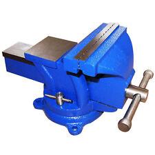 Schraubstock 150 mm 360° drehbar für Werkbank mit Amboss parallel blau