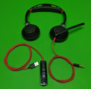 Plantronics Poly Blackwire Wired Headset w/ USB Adapter Remote C5220T