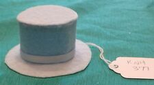 Light Blue Felt Top Hat w White Ribbed Ribbon Band Ken Barbie Doll Knh377