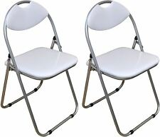 2 x Harbour Housewares White Padded, Folding, Desk, Guest Chairs