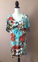 Jams World Hawaiian Shift Dress Cold Shoulder V-Neck Blue Floral Print Sz XS