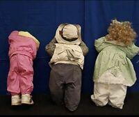 Time Out Dolls Kids In A Corner Hide And Seek Doll Handmade Toddler Set 3 Vtg