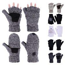 Warm Winter Fliptop Gloves Fingerless Pop Top Convertible Knit Wool Mittens