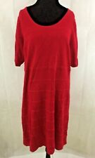 Lane Bryant Women's Knit Red Short Sleeve Zippered Sweater Dress Size 22/24