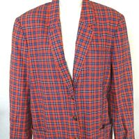 Vintage Tommy Hilfiger Plaid Blazer Jacket Women Size S Red Blue Long Sleeve