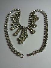 Collana Di Strass Bianco Sfaccettato Pietre Smeraldo VETRO fibbia Festa di nozze
