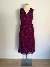 JACQUES VERT DEEP MAGENTA PINK SPOTTED PLEATED SPECIAL OCCASION DRESS SIZE 10