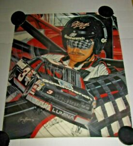 NASCAR SAM BASS DALE EARNHARDT SR SIGNED + 2 AUTO GOODWRENCH 22x30 POSTER