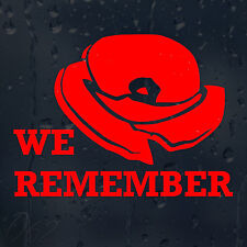 Lest We Forget Remembrance Poppy Day Car Decal Vinyl Sticker For Window Bumper