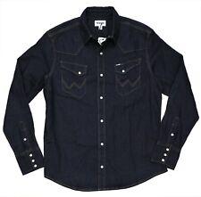 New Wrangler Dark Denim Western Shirt Men's Sizes S-XXL Cowboy Cut Angled Pocket