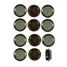 More details for 12 x felt backed castor cups 44mm brown furniture chair leg floor protectors