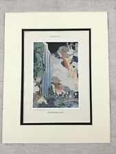 1938 Vintage Japanese Print Hokusai Ono Waterfall on the Kisokaido Japan