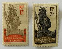 Postes Afrique Equatoriale Gabon RF 1c & RF 2c Guerrier Warrior Stamps 1924