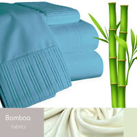 Bamboo Living Eco-Friendly 6 Piece Bedding Soft Sheet Set - Queen - Blue