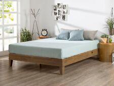 Twin Size Solid Wood Frame Bed Platform Modern Set 4 Mattress - No Headboard