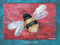 Original ACEO - Bumble Bee - miniature acrylic painting, not framed