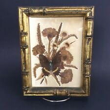 Vintage Framed Dried Flower Butterfly Collage Wall Art Mildred Roberts 1965