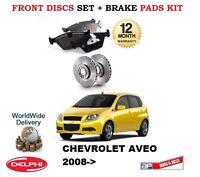 Per Chevrolet Aveo 1.2 1.4 5/2008-> Dischi Freno Anteriori + Pastiglie Disco Set