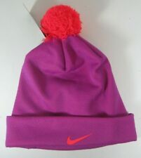 d65ba233481 Nike Girls Swoosh Pom Beanie Hat Cap Cuffed Youth Size 7 16 Bright Crimson