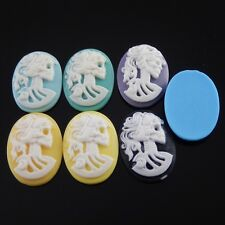 08645 Mixed Color Resin Girl Skull Cabochons Jewelry Finding Hot Sale 10pcs