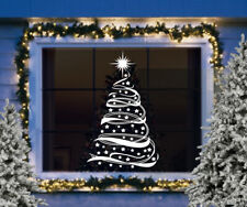 CHRISTMAS WINDOW STICKERS DECORATIONS Merry Christmas Ribbon Tree