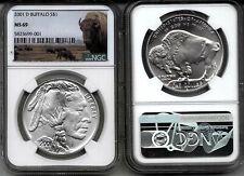2001-D BUFFALO silver $1- NGC  -  MS69 -NEAR- PERFECT - WHITE