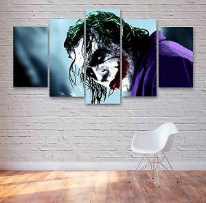 The Joker, Batman Movie 5 Panel Canvas, Wall Art, Multi Panel Canvas #013