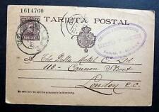 SPAIN TARJETA POSTAL -POSTAL STATIONERY  BILBAO 1902 TO LONDON UK Miguel Saeur