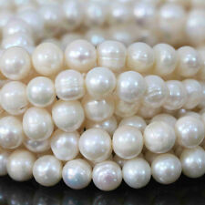 "8-9mm charms natural freshwater white pearl round loose beads jewelry 15"" AA"