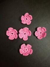 Lotto 5 fiorellini uncinetto in cotone colore Rosa
