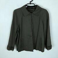 Elie Tahari Brown Blazer Jacket Womens Size M Linen Blend 3/4 Sleeve Career Work