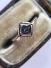 Art Deco Antique Platinum 18ct Yellow Gold Sapphire Square Pretty Ring