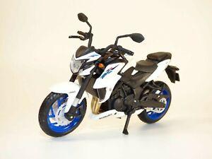Moto SUZUKI GSX-S750 ABS blanc & bleu 1/18