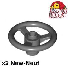 Lego technic - 2x volant steering wheel 3 stud gris f/dark bluish gray 2819 NEUF