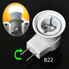 Rotateable 2Pin US/AU B22 Bayonet Base LED Bulb Lamp Holder Adapter With Switch