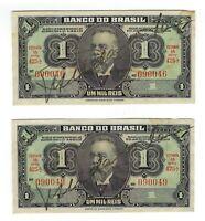 2x 1 Um Mil Reis Brasilien 1944 C001 / P.131a - Brazil Banknote