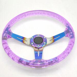 Red Purple Acrylic Steering Wheel Bluing Spokes 350mm 14inch