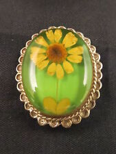 Vintage 925 MEX Marked Yellow Daisy? in Clear Lucite Sterling Silver Brooch Pin