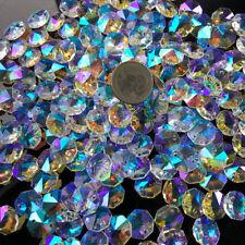 100PC AB Octagon Bead Aurora Faceted Prism Chandelier Pendant Suncatcher  Decor