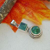 Apatit, grün, rund, eckig, modern, Amulett,  Anhänger, 925 Sterling Silber, neu