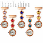 Women Flower Crystal Nurse Fob Watches Doctor Brooch Clip On Hanging Lapel Watch