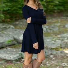 Women Autumn Winter Casual Long Sleeve Evening Party Short Mini Dress   New
