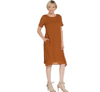 Linea by Louis Dell'Olio Regular Crepe Dress with Lining Tobacco Color Size XL