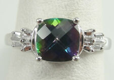 10K Solid White Gold Cushion Mystic Topaz Accent Baguette Diamonds Ring Size 7