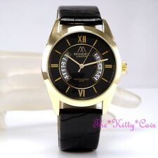 Unusual Designer Gold Plt & Black Leather Ladies Gents Unisex Date Display Watch