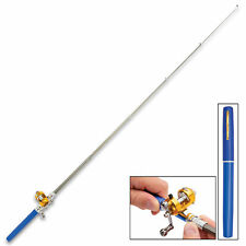 "38"" Mini Portable Pocket Alloy Fishing Rod Rack Pen Backpack and River Reel BLU"