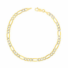 14K Yellow Gold 4.5mm Womens Diamond Cut White Pave Figaro Chain Bracelet 7""