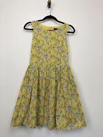 Dangerfield Womens Dress A-line Yellow Spider Floral Halloween Size 6