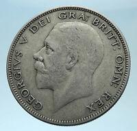 1928 Great Britain United Kingdom UK King GEORGE V Silver Half Crown Coin i78017